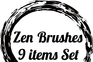 Zen circle brushes 9 shapes set
