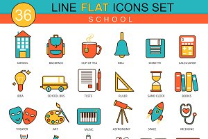 36 School flat line icons set.
