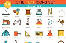 36 Sewing flat line icons set.