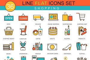 36 Shopping flat line icons set.