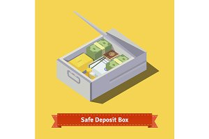 Safe deposit box full of money