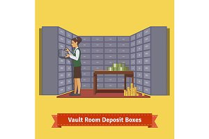 Bank vault room with a clerk