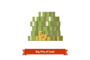 Stacked pile of cash and coins