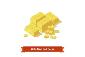 Gold bars or ingot and coins