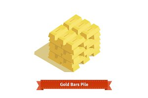 Piles of gold bars or ingot