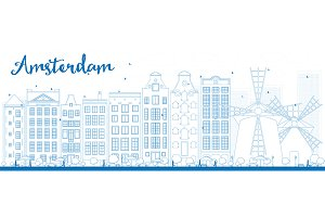 Outline Amsterdam city skyline