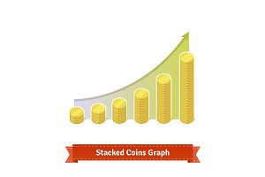 Stacked gold coins graph.