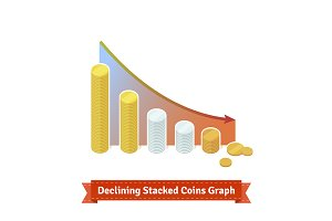 Declining Stacked Coins Graph.