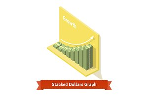 Stacked dollars graph.