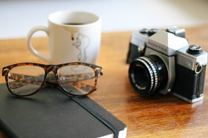Coffee, camera, glasses - set of 3
