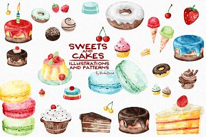 Sweets and Cakes - watercolor set