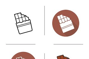 Chocolate bar icons. Vector