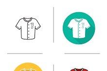 Baseball shirt icons. Vector