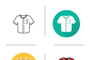Baseball shirt icons. Vector