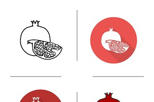 Pomegranate icons. Vector