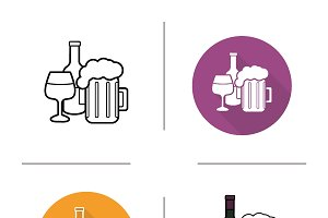 Alcohol drinks icons. Vector