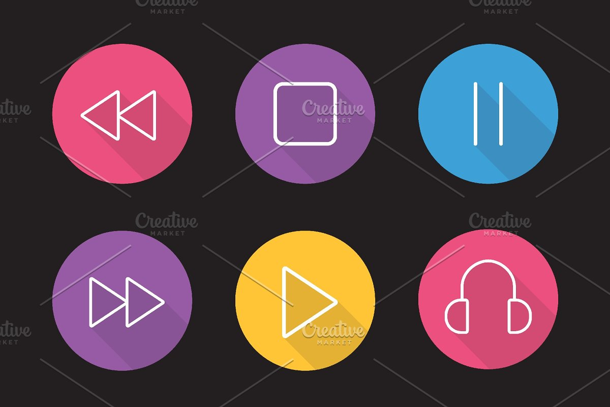 Audio player icons  Vector