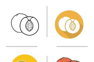 Peach icons. Vector