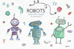Watercolor Clip Art - Robots