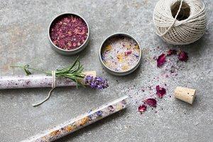 Bath Salt, Flowers, Herbs, Twine