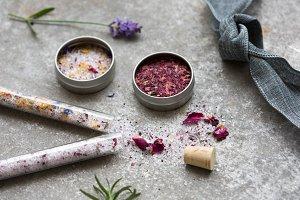 Bath Salt Flowers Lavender & Ribbon