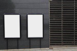 Two blank billboardds
