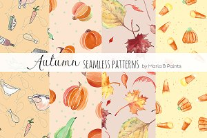 Watercolor Seamless Patterns - Fall