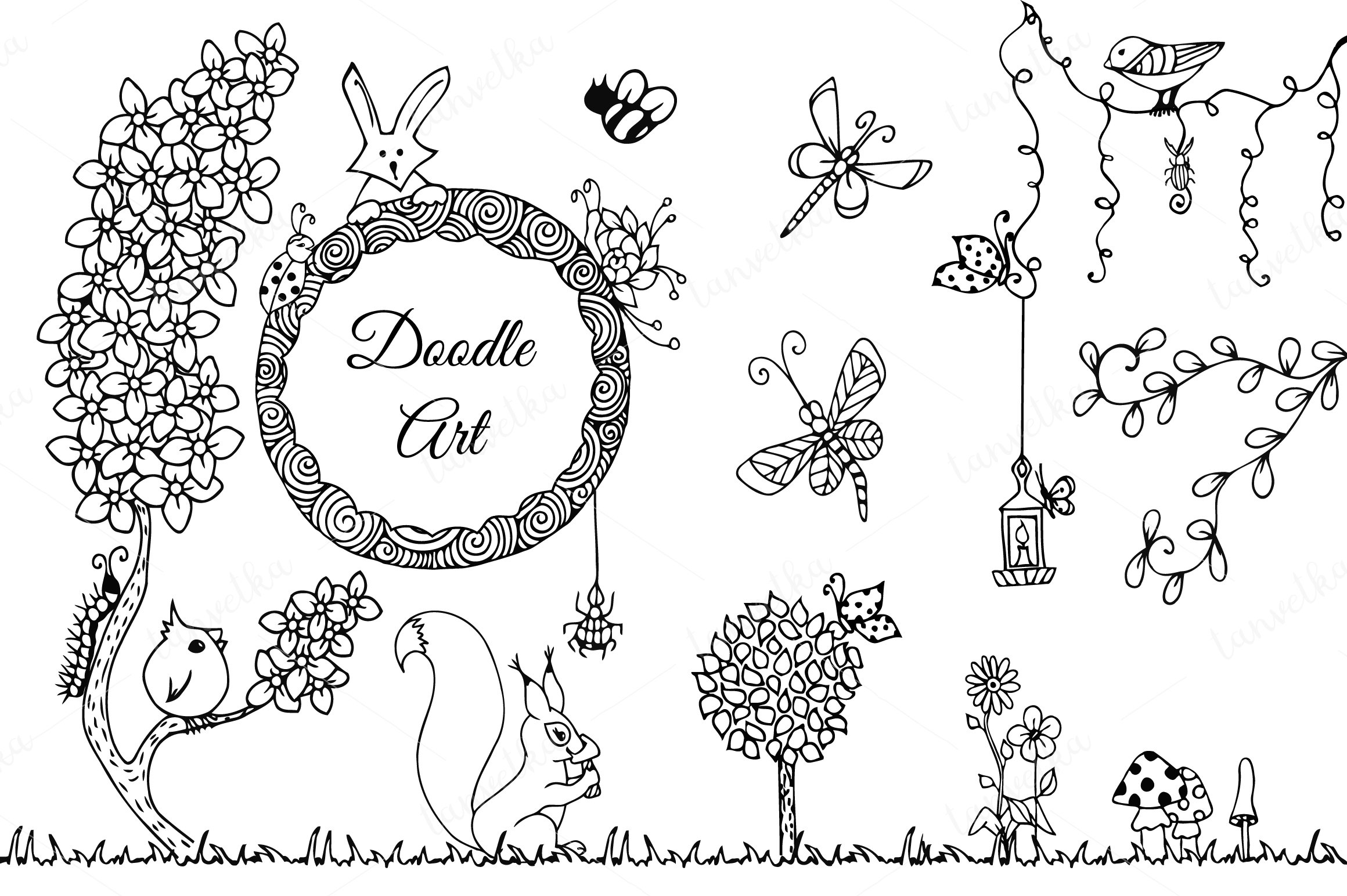 Doodle art in nature thematic set illustrations for Software progettazione giardini 3d free