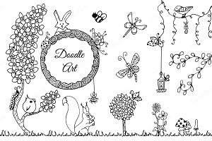 Doodle art in nature thematic set