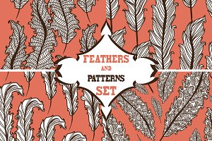 8 Feather Seamless Patterns
