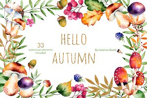 Hello, Autumn. Watercolor collection