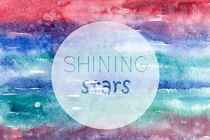 Shining stars watercolor texture