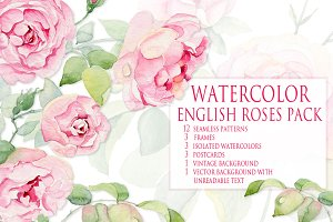 Watercolor vintage roses