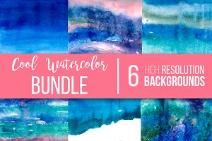 Cool watercolor textures bundle