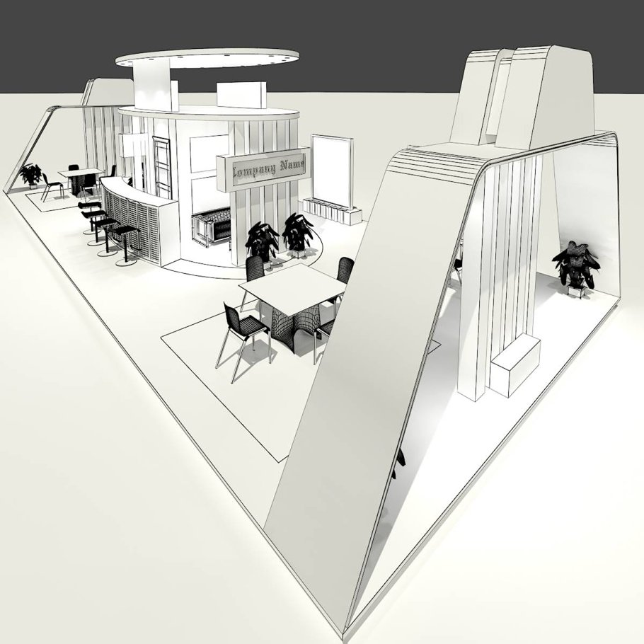 Exhibition Stand Drawing : Exhibition stand 032 ~ architecture models ~ creative market