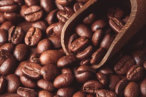 Coffe beans close up
