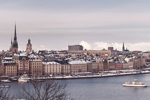 Winter cityscape of Stockholm