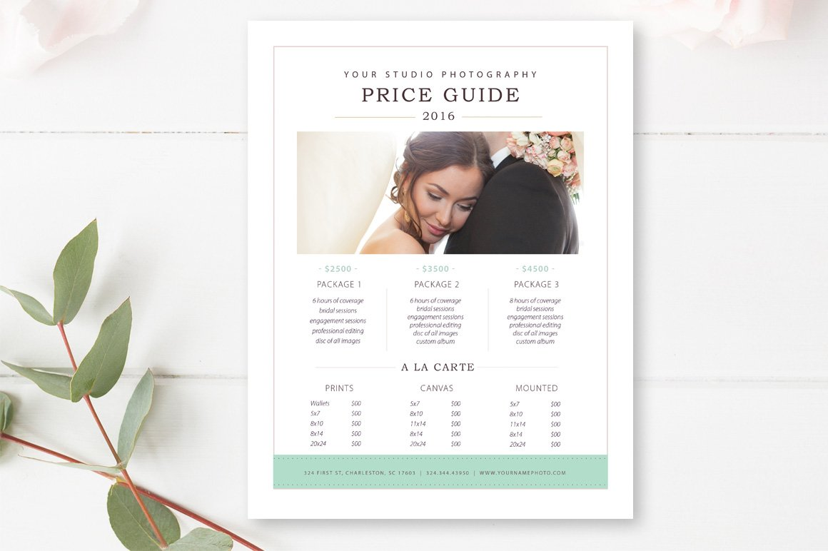 photography price list template flyer templates creative market