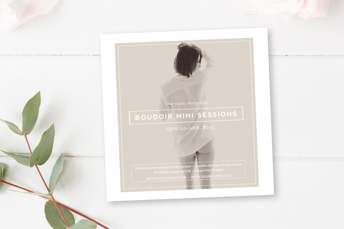 boudoir facebook instagram template flyer templates creative market. Black Bedroom Furniture Sets. Home Design Ideas