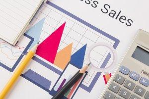 Business sales graph diagram