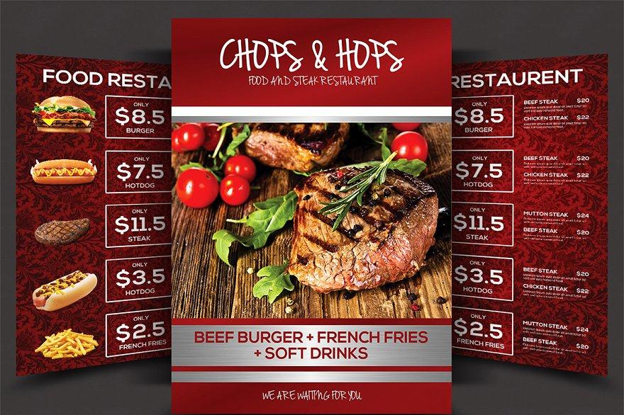 Grill restaurant menu template brochure templates