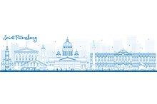 Outline Saint Petersburg skyline