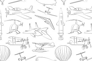 Aviation Icons Set pattern