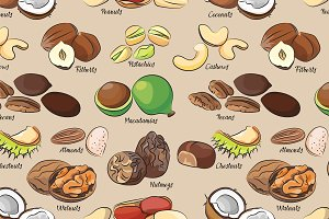 Collection of different nuts pattern