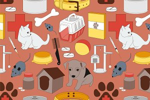 Veterinary pet icons pattern
