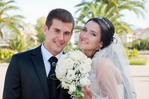 happy bridegroom and bride