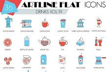 36 Drinks flat line icons set.