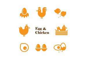 egg and chicken symbol set