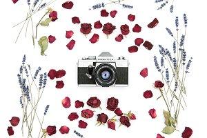 Vintage film camera. Floral frame