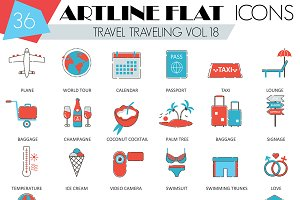 36 Travel traveling flat line icons